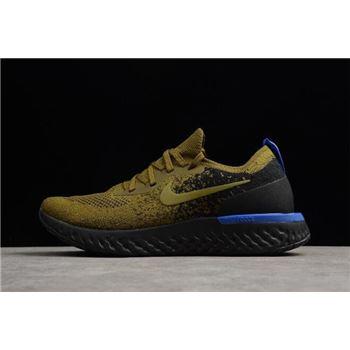 15b782dd54e5f Men s Nike Epic React Flyknit Deep Green Gold Black-Blue AQ0067-301