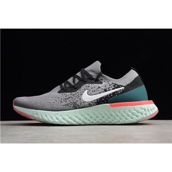 Nike Epic React Flyknit Light Grey/Black-Green Running Shoes Free Shipping