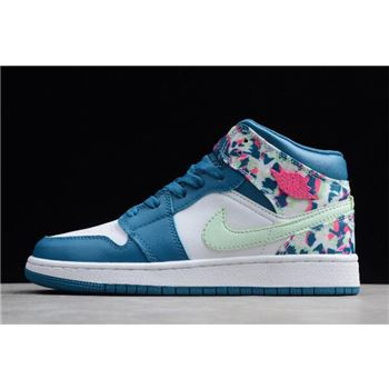 5fe0a20fb5bb 2019 Air Jordan 1 Mid GS White Blue-Pink-Green 555112-300